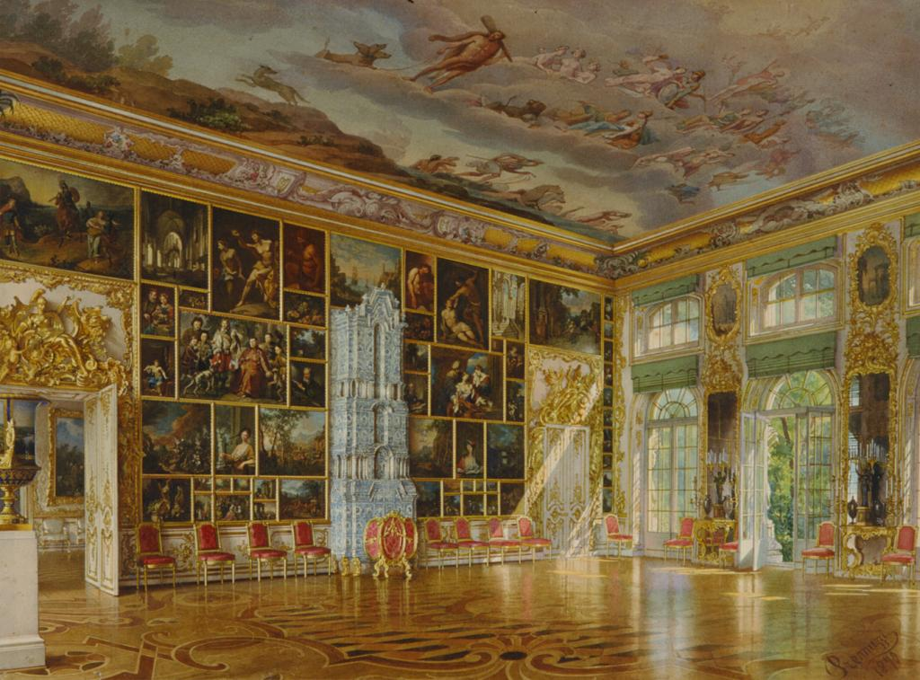 Picture Hall in Great Palace of Tsarskoe Selo, 1870 watercolour by Luigi Premazzi