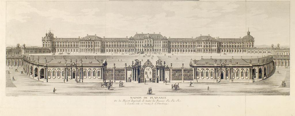 Great Palace of Tsarskoe Selo, 1755-1761 (engraving after drawing by Mikhail Makhaev)