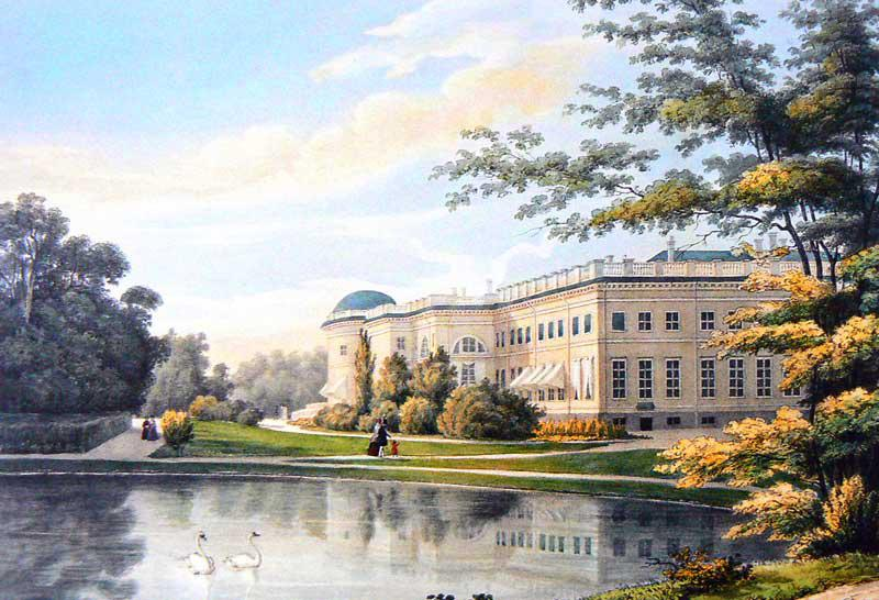 Façade of Alexander Palace viewed from Private Garden, 1840s colour lithograph by Johann Jacob Meyer