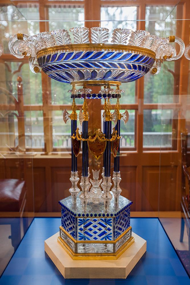 Vase of clear glass with cobalt overlay. Saint Petersburg, Russia. Imperial glass factory. 1830–1840s