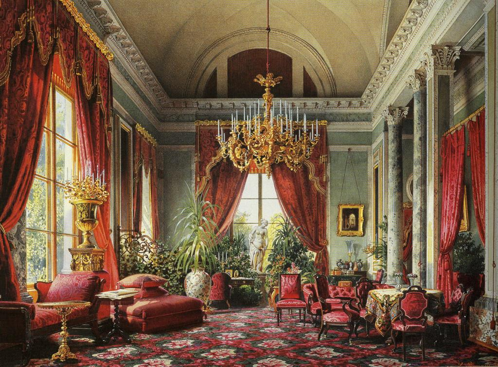 Crimson Draing Room, 1863 watercolour by Luigi Premazzi