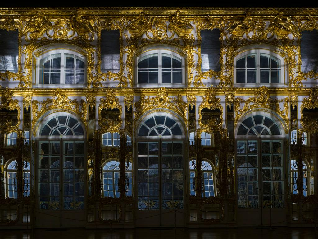 Great Hall of Catherine Palace at night